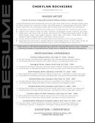 resume sample for makeup artist