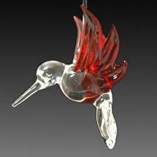 hand blown glass cobalt blue hummingbird ornament