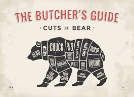 Bear Cut Of Meat Set Poster Butcher Diagram Scheme Bear