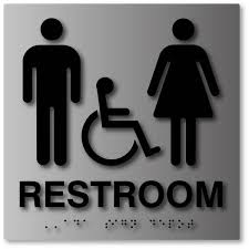 ADA Compliant Unisex Bathroom Signs In Brushed Aluminum ADA Sign Depot Cool Unisex Bathroom Sign