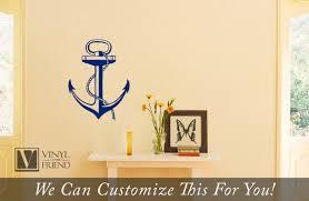 boat anchor nautical vinyl wall decor art for a sea man navy ship or pirate decor 2135
