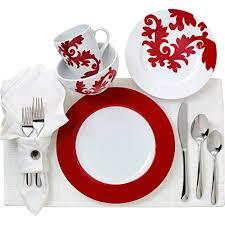 Euro Ceramica Calarama Collection 16 Piece Porcelain Dinnerware Set, Service for 4, Bold Damask Amazon.com |