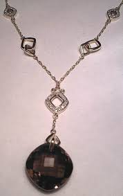 lrg smokey quartz pendant diamond 9ct