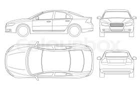 car outline front. Brilliant Car Sedan Car In Outline Business Sedan Vehicle Template Vector Isolated On  White View Front Rear Side Top All Elements Groups With Car Outline Front L