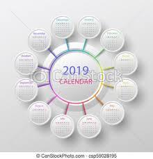 Circle Calendar Template Vector 2019 Calendar Template