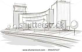 modern architecture drawing. Delighful Architecture Sketch Drawing Of Modern Architecture Vector Image For Modern Architecture Drawing W