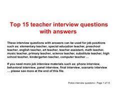 Common Teacher Interview Questions And Answers 22 Best Teaching Job Interview Images On Pinterest School Teacher