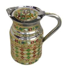 indian fine stainless steel water pitcher meenakari decorative jug table war