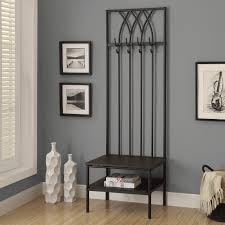 Entry Foyer Coat Rack Bench Decor Interesting Entryway With Black Metal Storage Bench And Coat 55