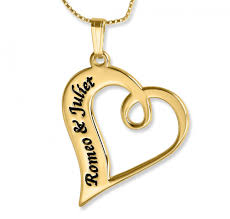name necklace twisted heart romantic pendant 24k gold plated namefactory