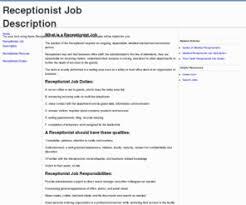 receptionist job description template receptionist job description info