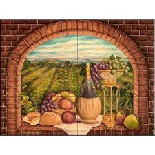 Kitchen Wall Mural The Tile Mural Store Tuscan Wine Ii 24 In X 18 In Ceramic Mural