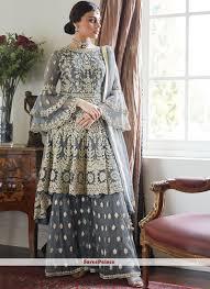 Unique Dress Design Pakistani Grey Embroidered Net Designer Pakistani Suit
