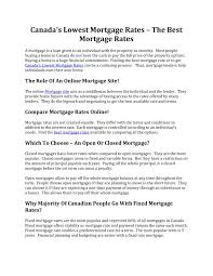 Comparing Mortgage Lenders Ppt Canadas Lowest Mortgage Rates Powerpoint Presentation