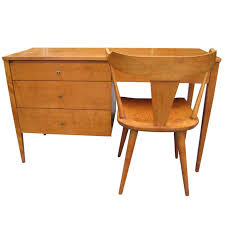paul mccobb solid maple desk with chair mid century modern for