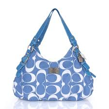 Cheap And Fashion Coach Fashion Signature Medium Blue Shoulder Bags CER Are  Here!