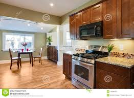 Wood Floor In The Kitchen Remodel Kitchen With Wood Flooring Royalty Free Stock Photography