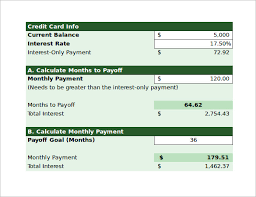credit card payoff calculator excel sample credit card payoff calculator 9 documents in pdf excel