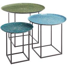 outdoor mosaic tile side tables designs