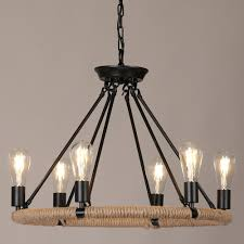 copula rustic style hemp rope metal 1 tier 2 tier round chandelier pendant light with exposed bulb hanging bulb chandelier