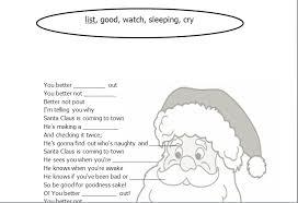 Santa Claus Printables Song Worksheet Santa Claus Is Coming To Town
