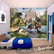 A childrens bedroom with the Dinosaur Wall Mural