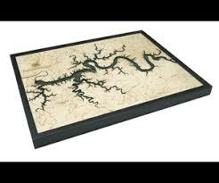 Woodcharts Lake Cumberland Ky Bathymetric 3 D Wood Carved Nautical Chart