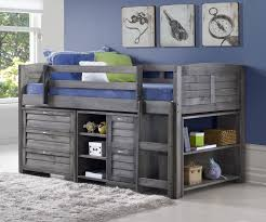 Louvered Bedroom Furniture Louver Low Loft Bed With Storage Antique Grey Finish From Donco