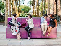 thermochromic color changing bench by artist sam falls new york