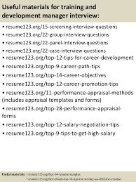 top  training and development manager resume samples       useful materials for training and development