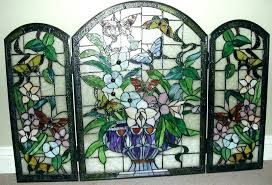 stained glass fireplace screen decorative screens ornate fire patterns fireplac stained glass fireplace small screens