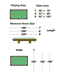 Pool Table Sizes Chart Pool Table Dimensions Sizes Chart Cm House Living Maker Sample