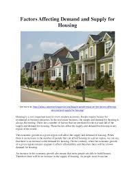 factors affecting demand and supply for housing