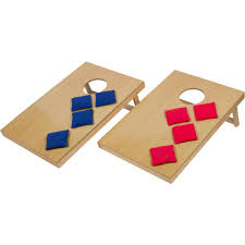 mini tabletop bean bag toss game for indoor use