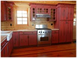 Red Cabinets In Kitchen Kitchen Red Paint Modern Shaker Cabinetry With Red Paint And Glaze