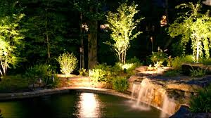 Beautiful Backyard Pool With Waterfall Also Green Gardening As - Exterior spot lights