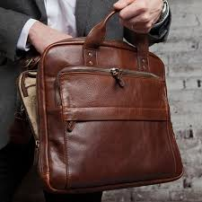 moore  giles jay leather modern briefcase in titan milled brown