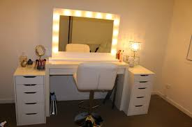 diy white wooden vanity desk with mirror and lights with many drawers