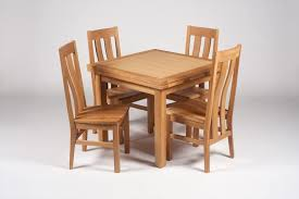 oak wood square expandable dining table with four chairs