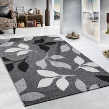 heavy woven rug fl design modern carpet in grey and black