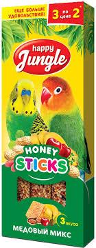 Лакомство <b>Happy Jungle Палочки для</b> птиц Микс 3 вкуса, J207, 3 шт
