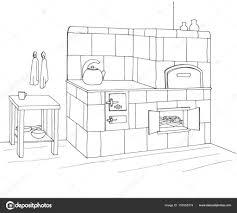Kachelofen In Einer Ecke Vektor Illustration Im Stil Sketch