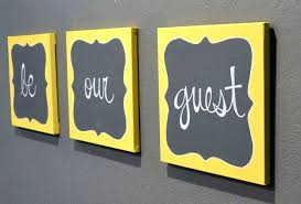guest room wall art yellow and gray wall decor best of be our guest canvas painting