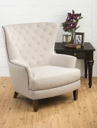 conner upholstered tufted wing back accent chair natural conner ch natural