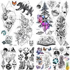 Akvarel Kompas Dočasné Tetování Samolepky Létající Ptáci Vodotěsné