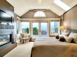 Contemporary Master Bedroom with French doors, Black Streak Decorative Wall  Surface 4x8, Carpet,