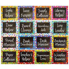 Classroom Monitors Chart 17 Piece Chalkboard Design Classroom Jobs Chart For Bulletin