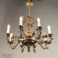 antique italian wood and brass chandelier