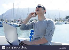 nice person office. Businessman Working With Computer On A Boat, Nice Outdoor Office Person E