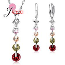 2019 <b>JEXXI Colorful Cubic</b> Zircon 925 Sterling Silver Necklace ...